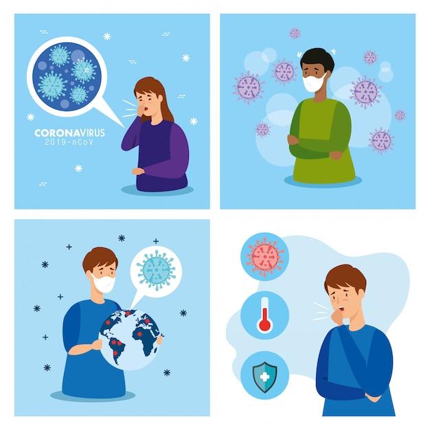 Set poster von coronavirus 2019 ncov Kostenlosen Vektoren