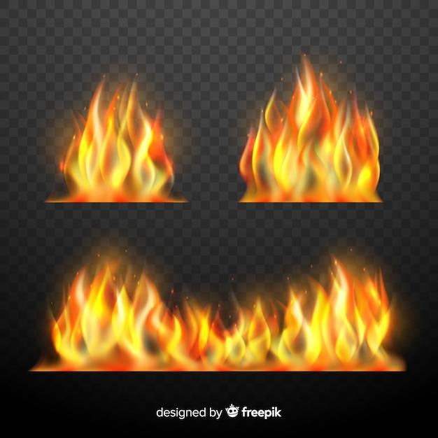 Set realistische feuerflammen Kostenlosen Vektoren