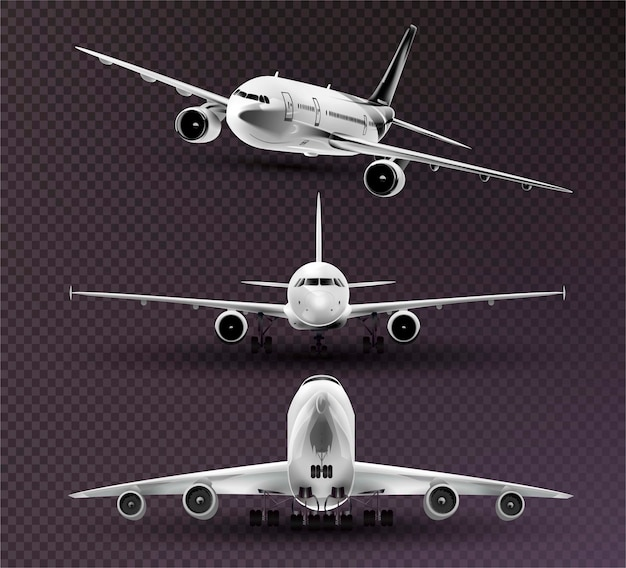 Set realistische flugzeuge Premium Vektoren