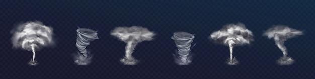 Set realistische tornado-wirbel. verschiedene arten von wirbeln mit wolken und fliegenden scherben Kostenlosen Vektoren