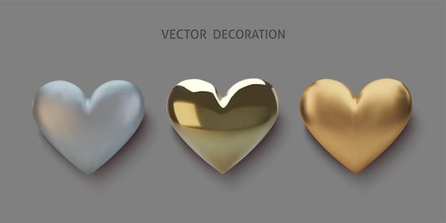 Set realistisches gold- und silberherz Premium Vektoren