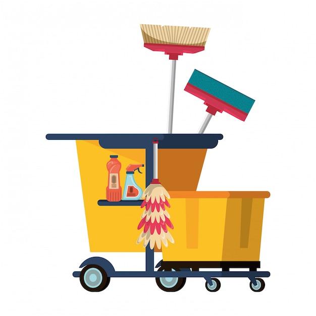 Set reinigungsgeräte und -produkte Premium Vektoren