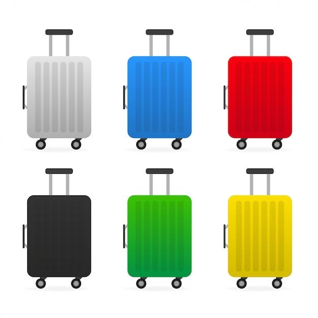 Set reisetasche aus kunststoff Premium Vektoren