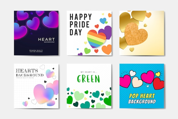 Set reizende quadratische hintergründe. herzhintergrund, glücklicher pride day, pop-art Kostenlosen Vektoren