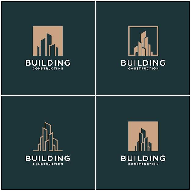 Set sammlung gebäude logo design bundle konstruktion. Premium Vektoren