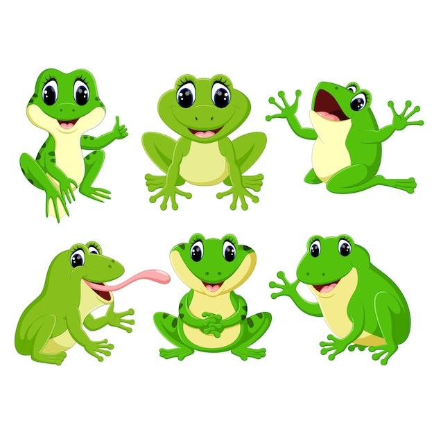 Set-sammlung netter frosch cartoon Premium Vektoren