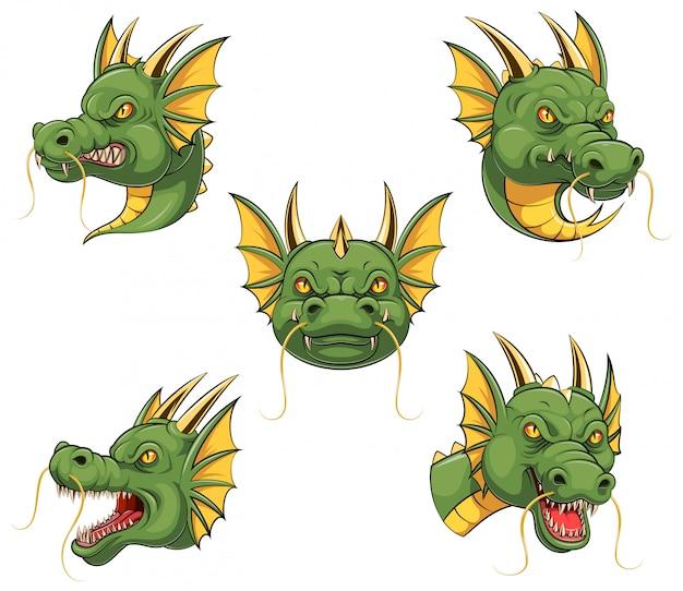 Set sammlung von dragon head maskottchen Premium Vektoren