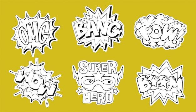 Set sammlung von emotionen comic-stil explosion schriftzug omg, boom, bang, pow, wow cartoon doodle illustration für druckdesign. Premium Vektoren