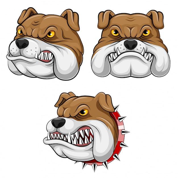Set sammlung von maskottchen kopf einer bulldogge Premium Vektoren