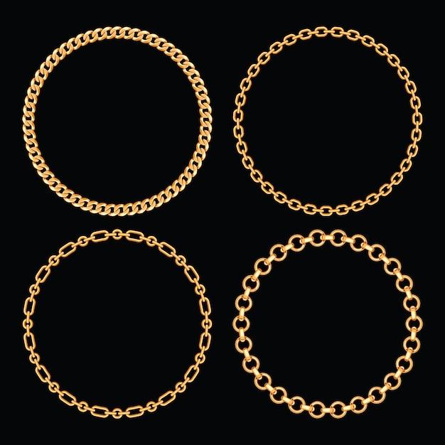 Set sammlung von runden rahmen mit goldenen ketten. auf schwarz. vektor-illustration Premium Vektoren