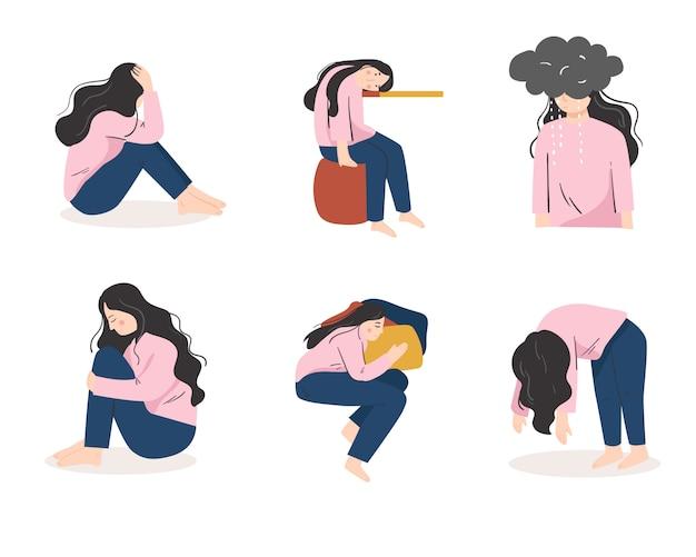 Set sammlung von traurigen, angst, psychische gesundheit vektor-illustration Premium Vektoren