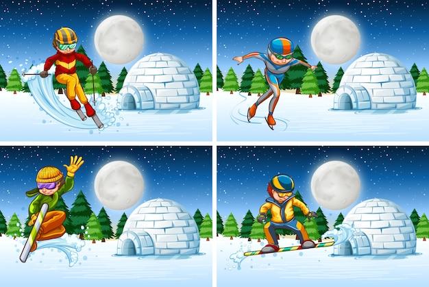 Set schnee aktivität in der nacht Kostenlosen Vektoren