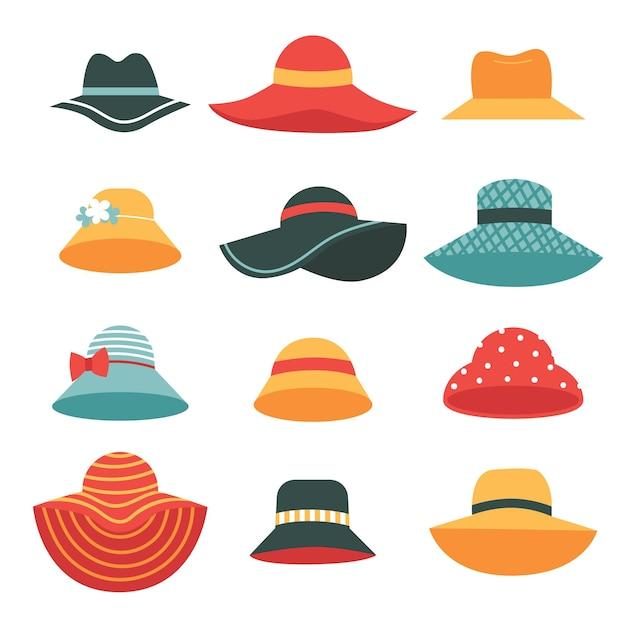 Set schöne sommerhüte für damen. hüte mit breiten und schmalen krempen. Premium Vektoren
