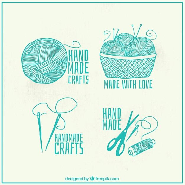 Set schöne handgezeichnete Nähen Logos   Download der kostenlosen Vektor