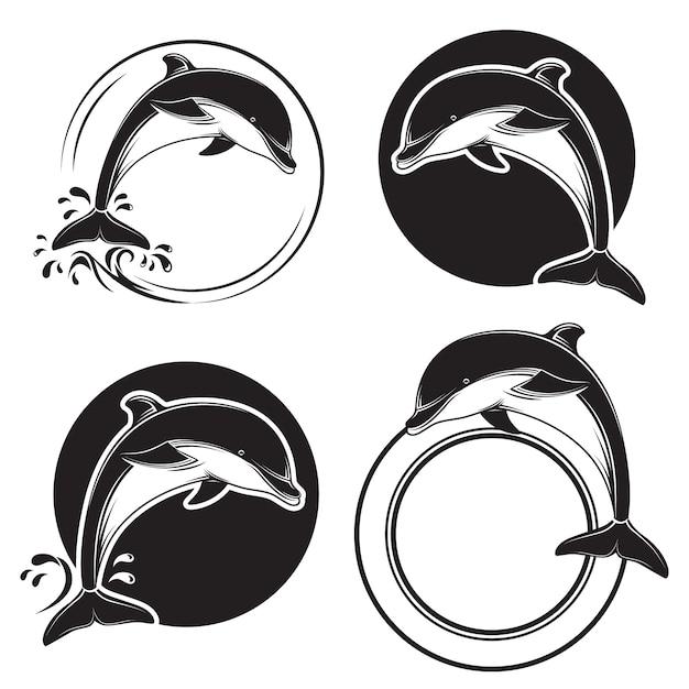 Set schwarze delphinikonen Premium Vektoren