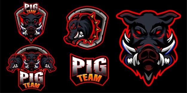 Set schweinefleisch logo tiere Premium Vektoren