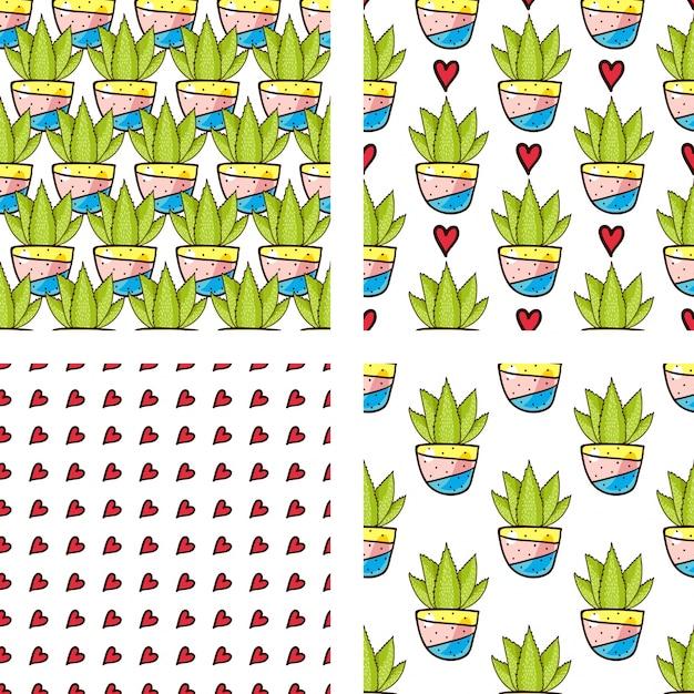 Set seamless pattern von kakteen und sukkulenten in töpfen. Premium Vektoren