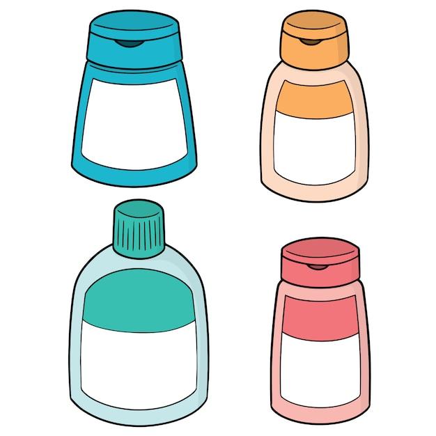 Set shampoo und flüssigseifenflasche Premium Vektoren
