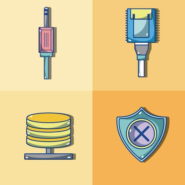 Set sicherheitssysteme cartoons sammlung Premium Vektoren