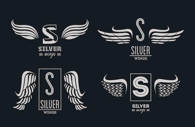 Set silberne flügel embleme Premium Vektoren