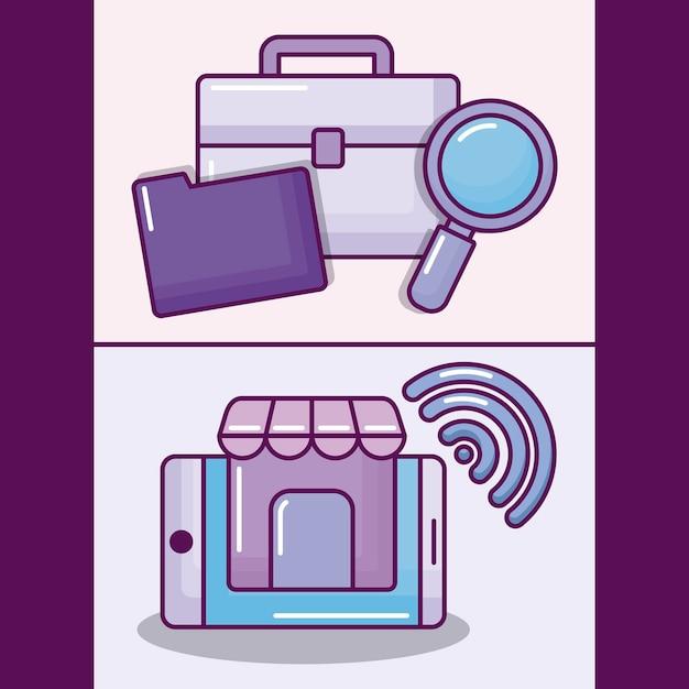 Set smartphone mit elektronischen geschäfts-ikonen Kostenlosen Vektoren