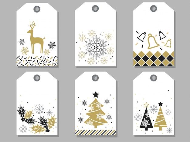 Set sortierte geschenkmarken des neuen jahres und des weihnachten Premium Vektoren