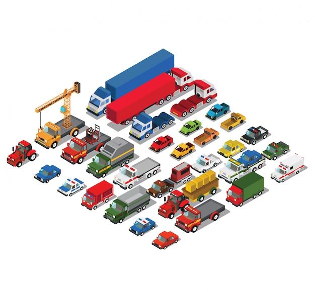 Set städtischer öffentlicher personen- und güterkraftwagen Premium Vektoren
