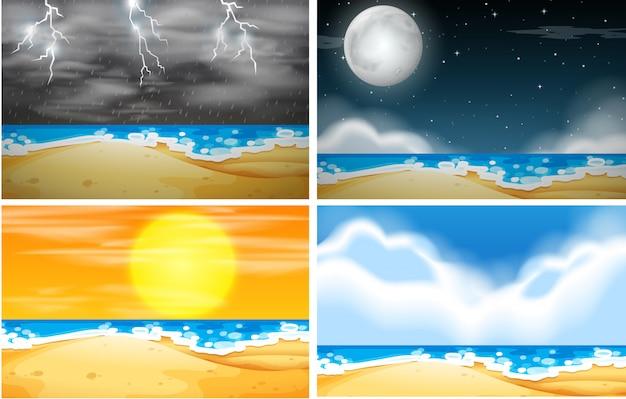 Set strandhintergrund mit unterschiedlichem wetter Kostenlosen Vektoren