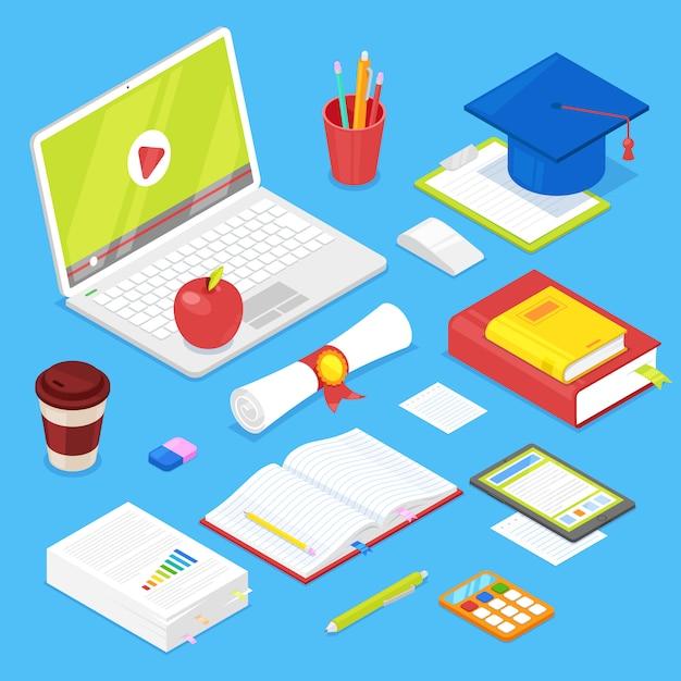 Set studentenzubehör Premium Vektoren