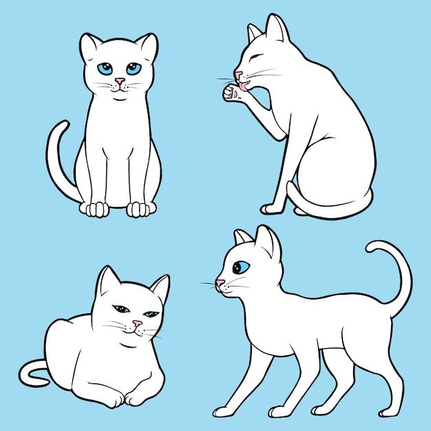Set süße weiße katzen Premium Vektoren
