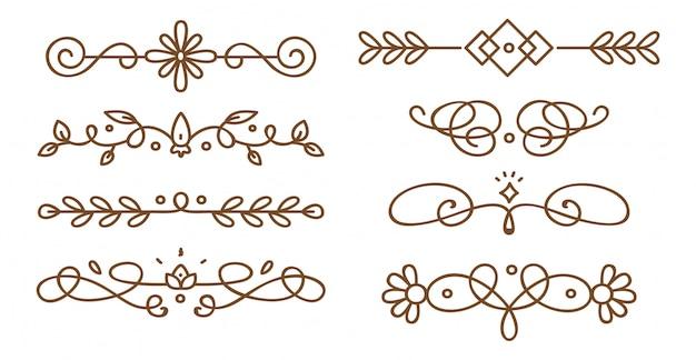 Set swirly dekorative trennwände Premium Vektoren