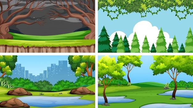 Set szenen oder hintergrund in der natureinstellung Kostenlosen Vektoren