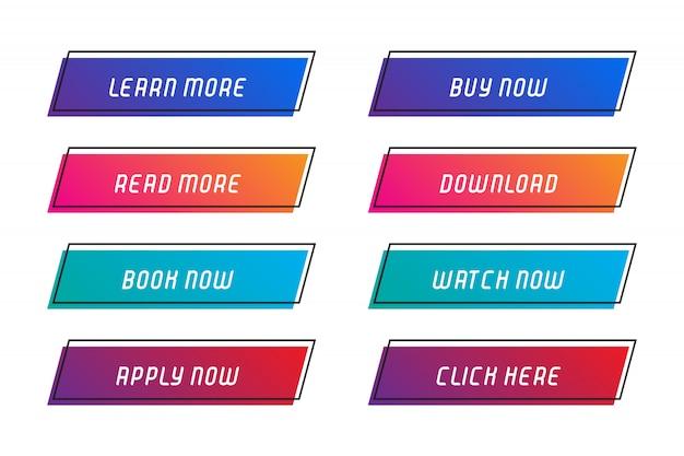 Set tasten mit feld für web site. Premium Vektoren