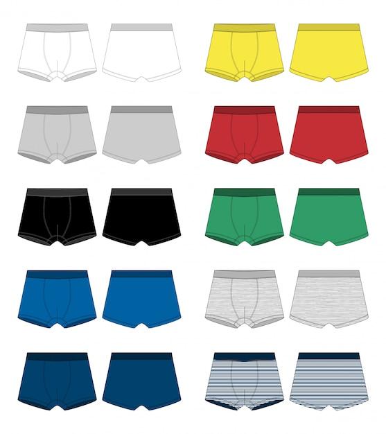 Set technische skizze boxershorts. unterhose, isoliert auf weiss. Premium Vektoren