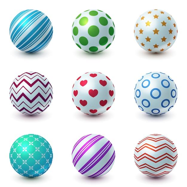 Set textur ball - realistische ikone. Premium Vektoren