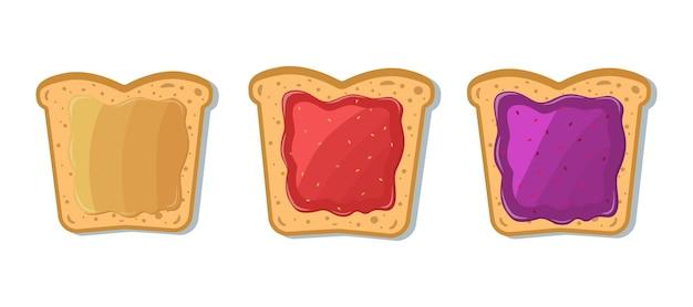 Set toast mit marmelade und erdnussbutter. cartoon-stil. Premium Vektoren