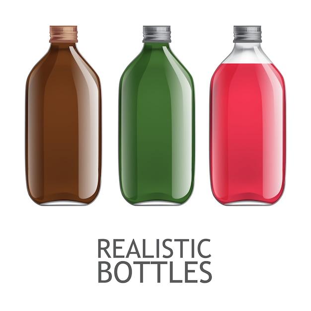 Set transparente flaschen Premium Vektoren
