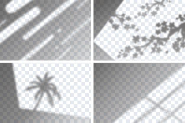 Set transparente schattenüberlagerungseffekte für das branding Kostenlosen Vektoren