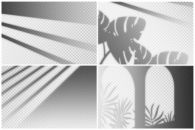 Set transparenter schattenüberlagerungseffekt Premium Vektoren