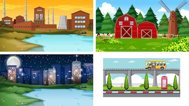 Set unterschiedlicher landschaftshintergrund Kostenlosen Vektoren