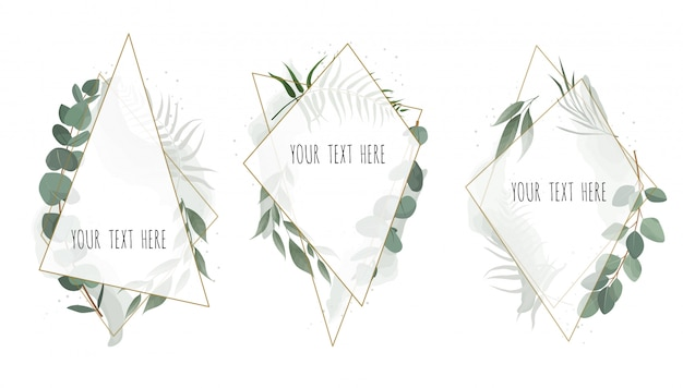 Set vector floral botanische karte Premium Vektoren