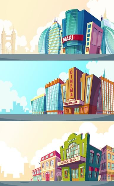Set Vektor Cartoon Illustration einer städtischen Landschaft mit den Gebäuden der alten und modernen Kinos. Kostenlose Vektoren