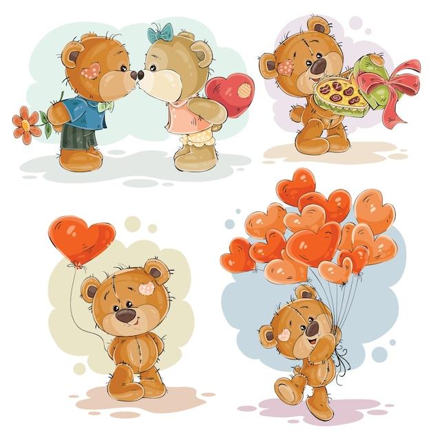 Set Vektor Clip Art Illustrationen von verliebten Teddybären Kostenlose Vektoren