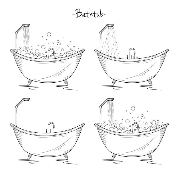 Set verschiedene bäder mit schaum, dusche, ente. skizze stil illustration. Premium Vektoren
