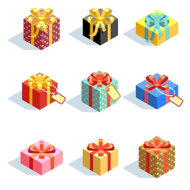 Set verschiedene farbige giftboxes 3d mit den bändern lokalisiert. flache vektor-illustration sammlung der geschenkboxpaketüberraschung mit band Premium Vektoren
