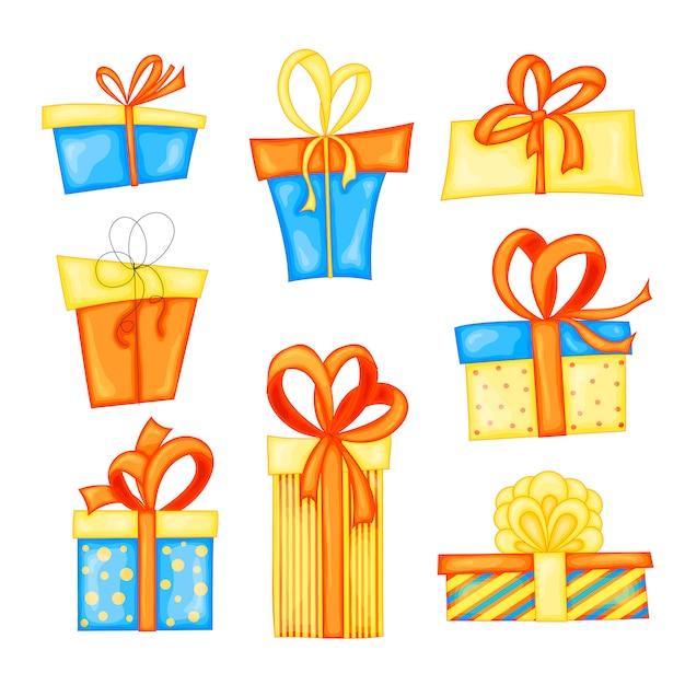 Set verschiedene geschenkboxen Premium Vektoren