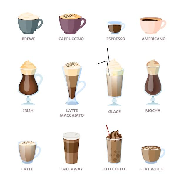 Set verschiedene kaffeesorten. americano und cappuccino, espresso und mokka. heiße tasse zum frühstück mit milch. illustration im cartoon-stil Premium Vektoren