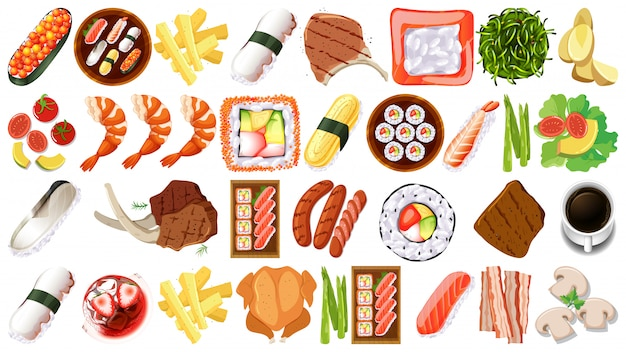 Set verschiedene lebensmittel Kostenlosen Vektoren