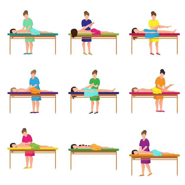 Set verschiedene massagen im stadtstudio am weichen bett Premium Vektoren