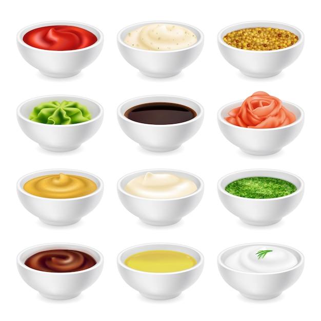 Set verschiedene saucen in schalen Premium Vektoren